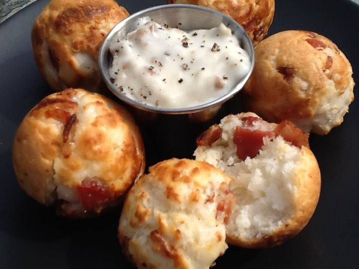 Bacon filled biscuit puffs are crisp on the outside and perfect for dipping in gravy or one of our...