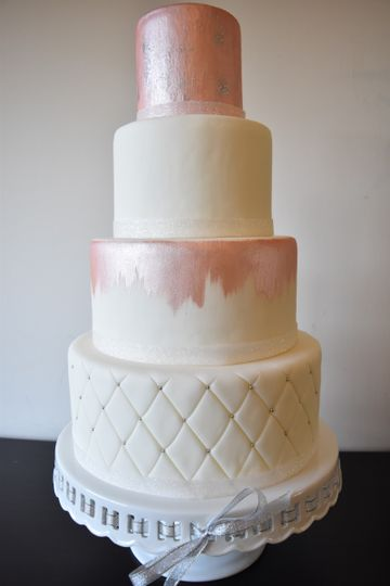 White cake with pink shine