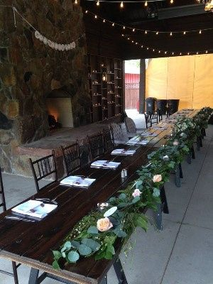 Rustic tables with foliage