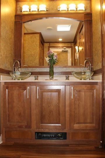 Beautiful double sink on the women's side of the Premier Ritz trailer