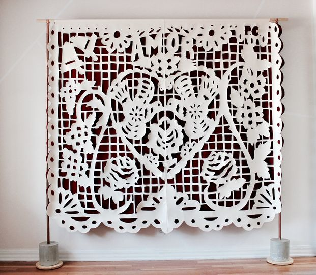 Papel picado in cream