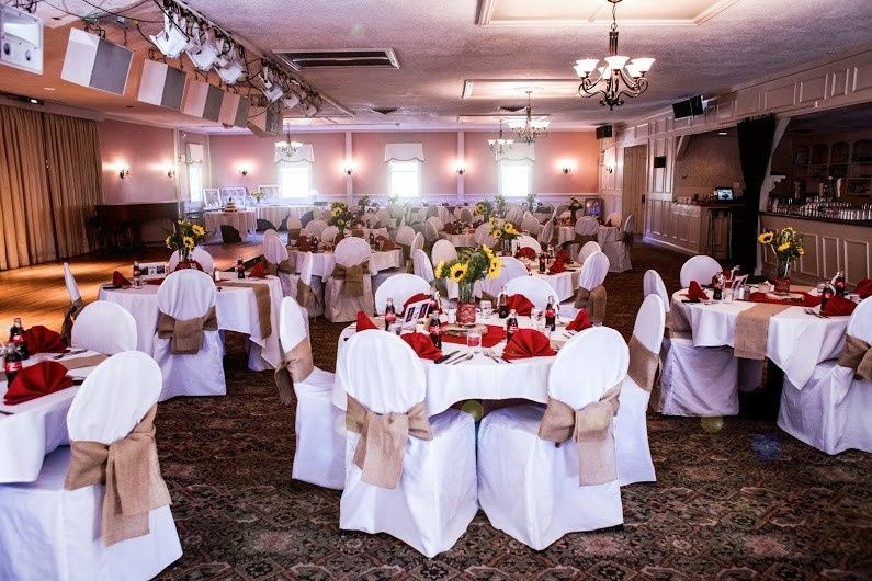 The sawtelle room with white chair covers