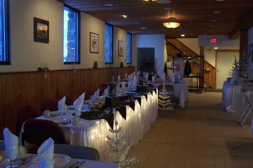 Head table in lower level of Town Hall