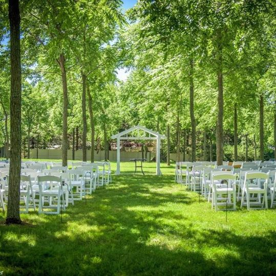 Shaded open space for weddng, reception or meal.