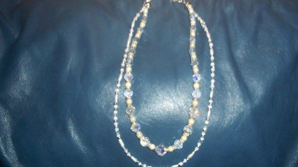 DOUBLE LAYERED NECKLACE WITH CULTURED PEARLS, AURORA BOREALIS CRYSTALS.  OUTER STRAND IS ALL FRESH...