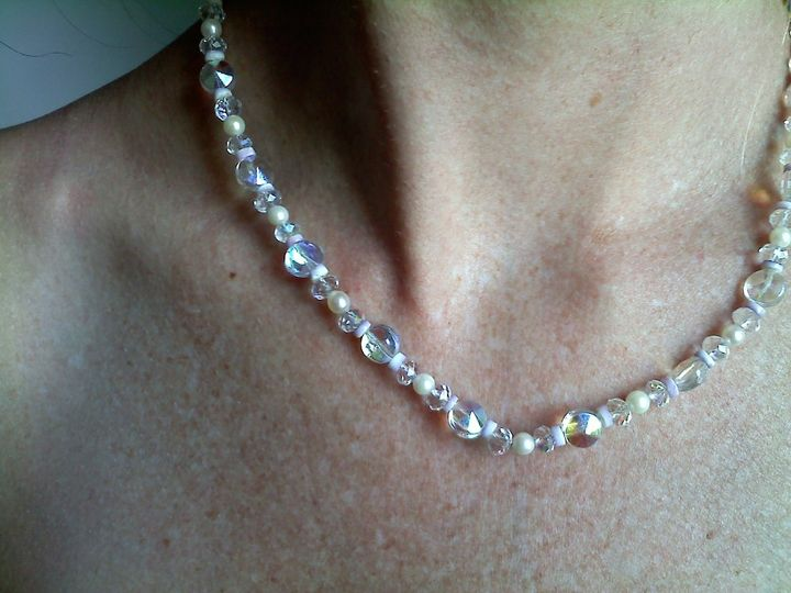 This necklace is made with beautiful round AB crystals. and pearls. this is a Beauty!