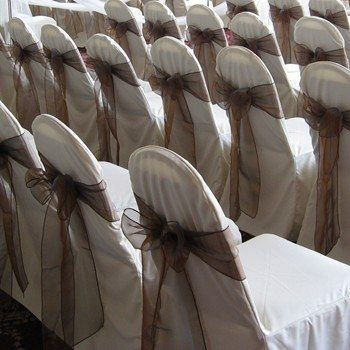 Chair covers with mocha bows