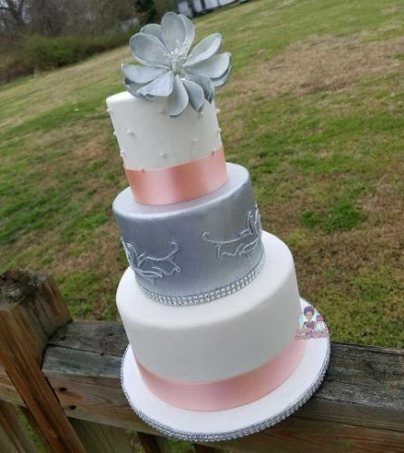 Silver and pink cake