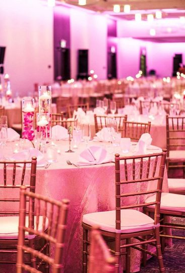 Fill the ballroom with your wedding colors using our brand new LED lighting package!