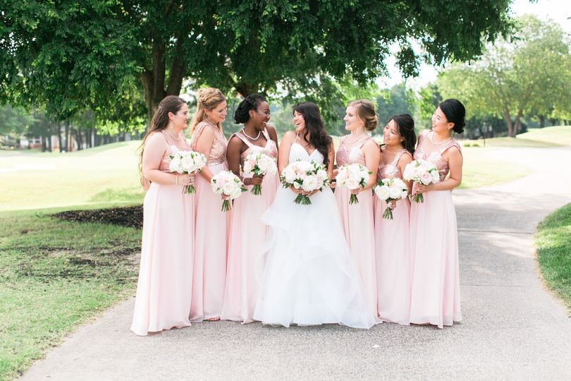 Pretty in pink wedding party