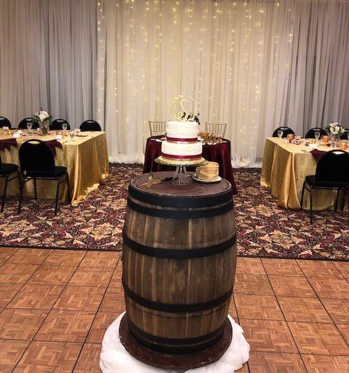 Wedding cake on whiskey barrel