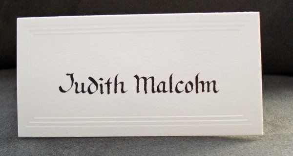 hand lettered place card