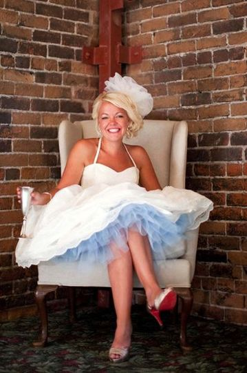 Bride Lindsay in Salida SteamPlants Green Room, which is available for changing and getting ready