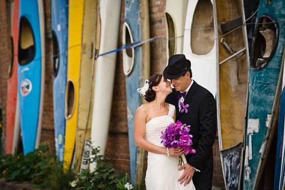 "Kayaks at ""F"" Street with Bride and Groom, Salida has dozens of perfect picture spots"