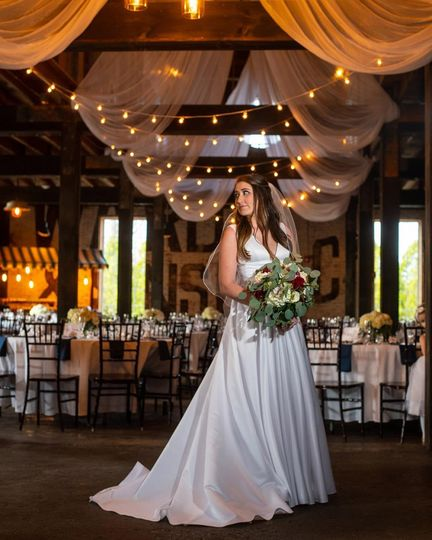 Bride in reception space