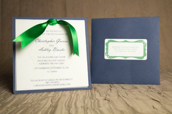 Tmx 1328664318231 BlueWithGreenRibbonEngagement1 Springfield wedding invitation