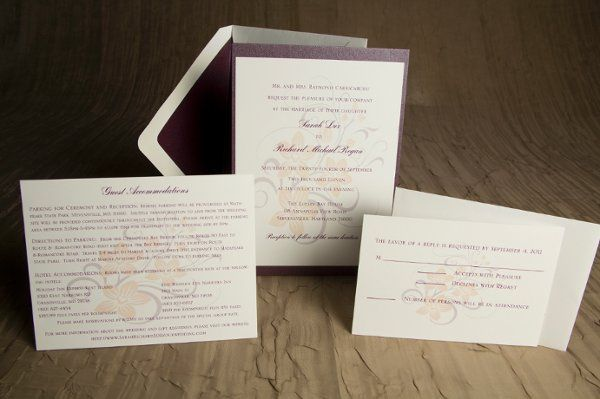 Tmx 1328664478545 PurpleandPeachWeddinginvitation4 Springfield wedding invitation
