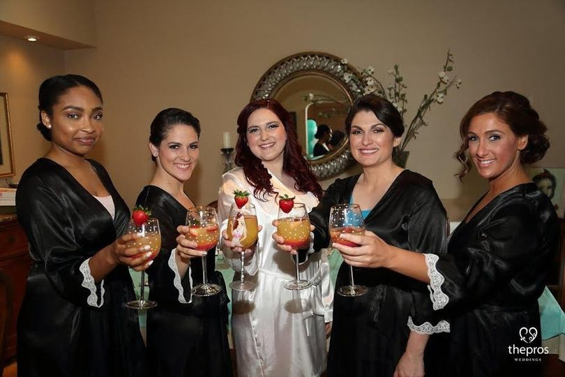 Marie and her bridal party, makeup by Stephanie.