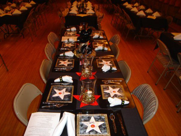 Table set up for a movie themed banquet.