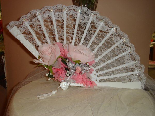 The perfect southern bell bridesmaid's bouquet. This lace fan is perfect for a country or beach...