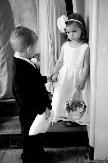 I'll hold your hand :-)  Ring Bearer and Flower Girl.  Photo: Laura Matthews Photography