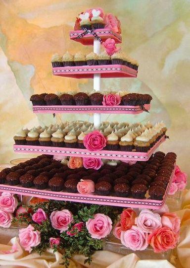 Pink and Brown mini cupcake tower