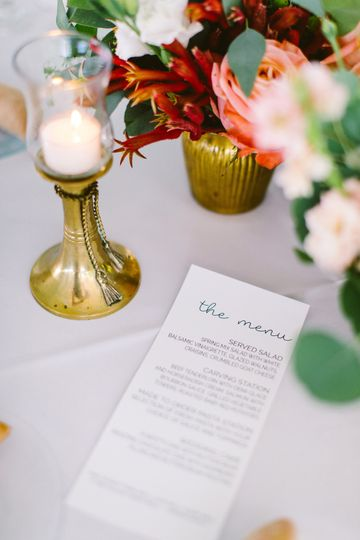 Table card and centerpieces