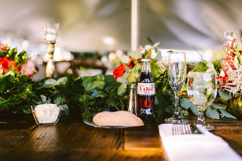 Coke light and table setting