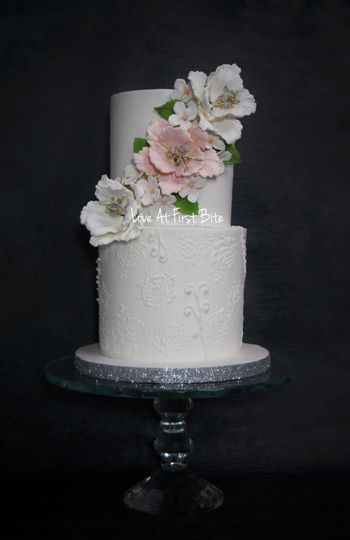 Romantic cake with sugar lace