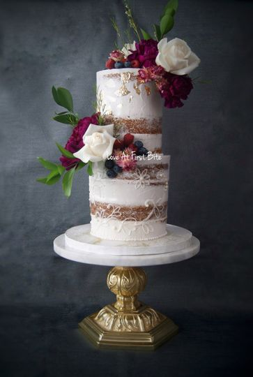 Textured semi naked cake