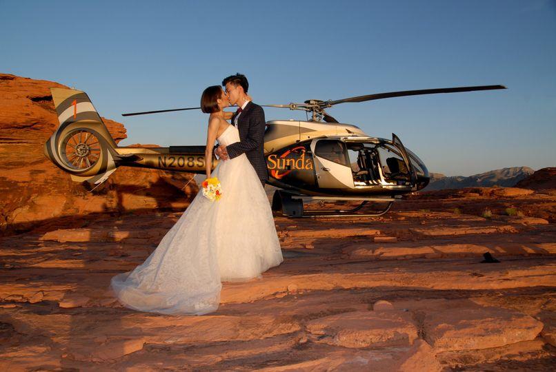 Kiss by the chopper