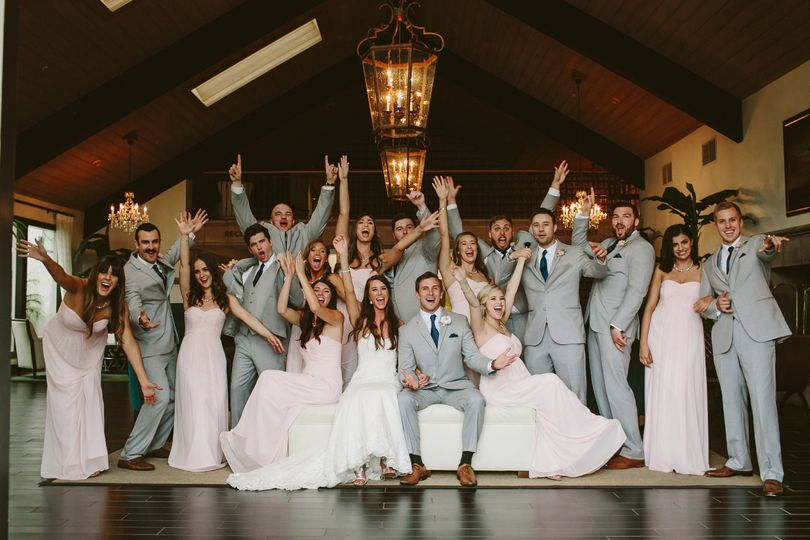 With the groomsmen and bridesmaids