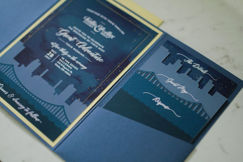 Custom Diecut City Invitations