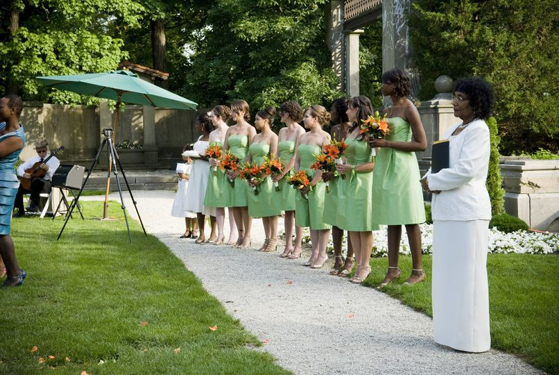 Bridesmaids and officiant