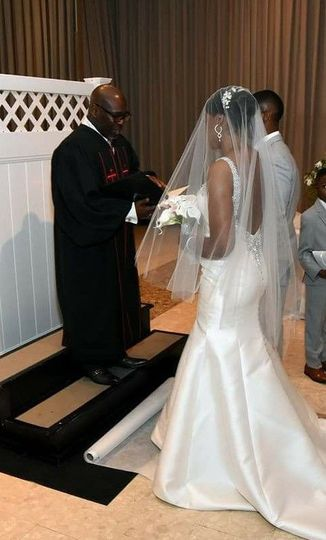 Wedding ceremony officiated by Rev. Finney