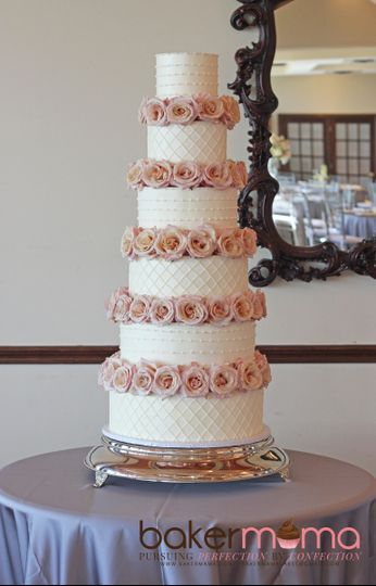 6 tiers of Swiss meringue buttercream with fresh roses