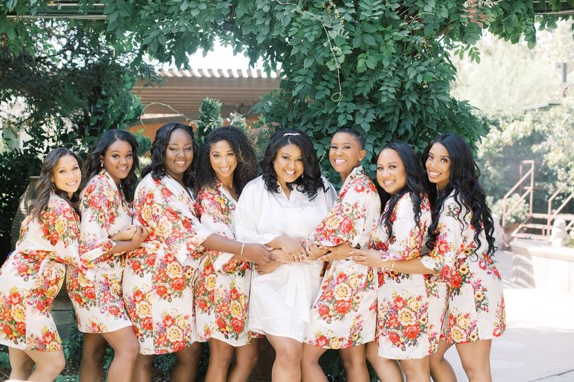 Bridesmaids with Floral Robes