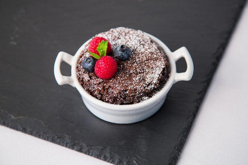 Plated Entree Flourless Chocolate Cake