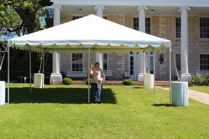 Setting up at the Charles Johnson House  20x20 Tent