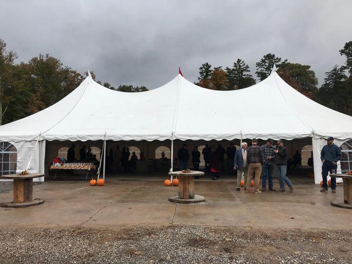 Tented reception area