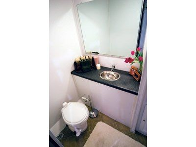 This compact restroom trailer will make the best use of limited space.