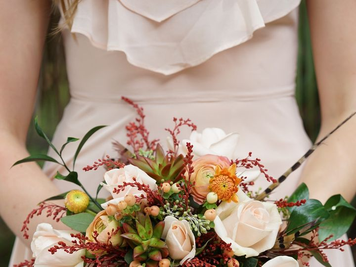 Tmx 1473085471778 Peachandorangebridalbouquetenvironmental Raleigh, NC wedding florist