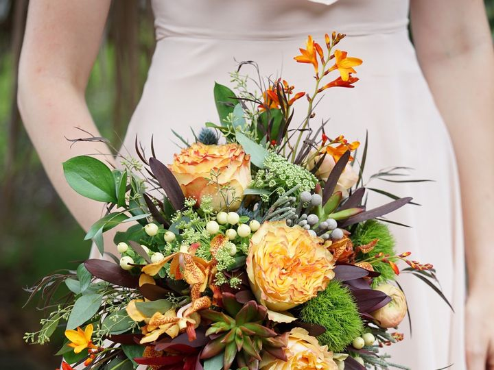 Tmx 1473085700890 Greenandorangebridalbouquetenvironmental2 Raleigh, NC wedding florist