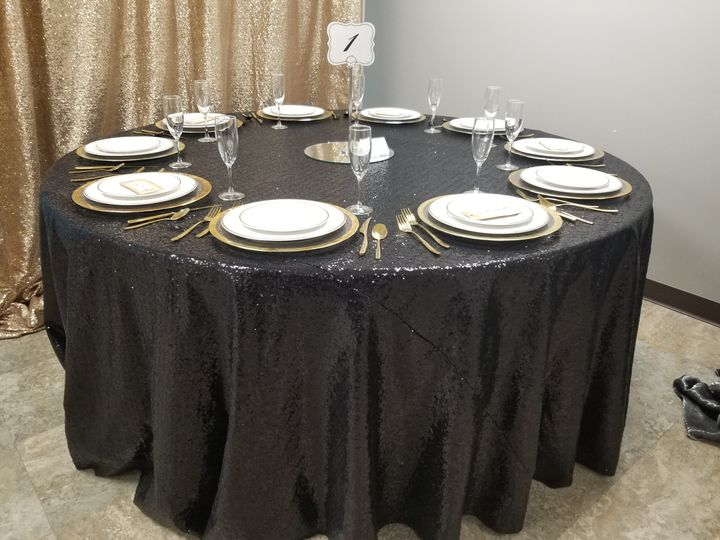 Tmx 72 Inch Round Table With Black Sequin Goldware 51 694022 Wichita, KS wedding rental