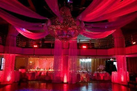 Red Uplighting and Draping