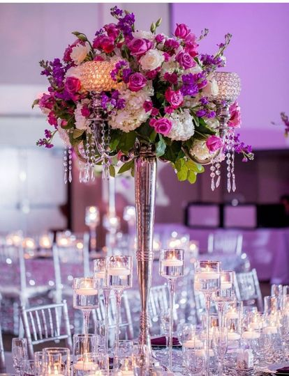 Purple flower centerpiece