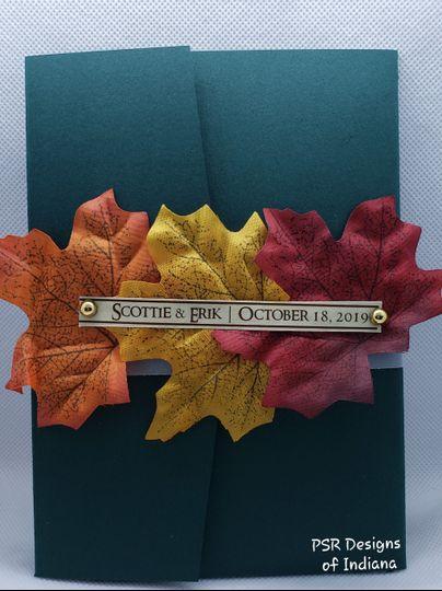 Fall themed pocket invitation