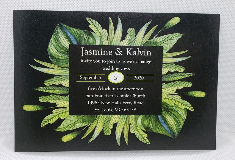 Green & Black Wedding Invite