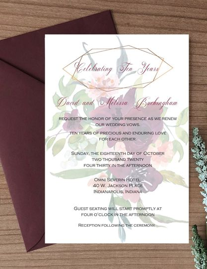 Burgundy floral watermark