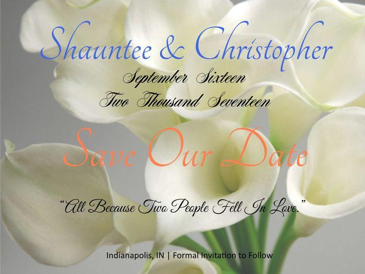 Tmx 1527999114 0e153ef6012ac245 1527999112 Fbd01ac247691586 1527999103597 9 Shauntee And Chris Indianapolis, IN wedding invitation
